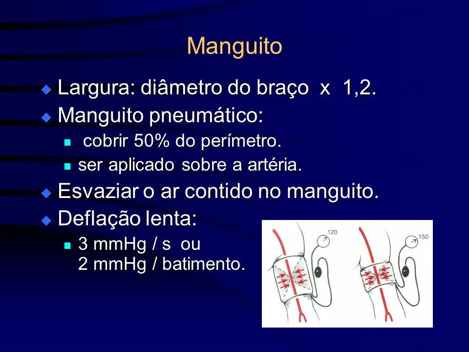Manguito Largura: diâmetro do braço x 1,2. Largura: diâmetro do braço x 1,2. Manguito pneumático: Manguito pneumático: cobrir 50% do perímetro. cobrir