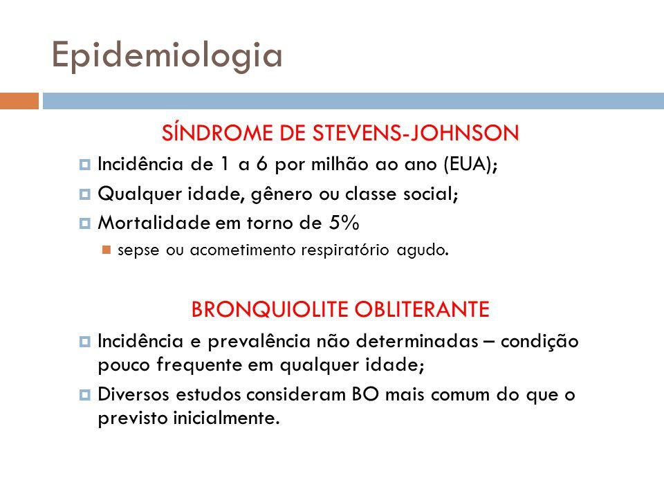 Epidemiologia SÍNDROME DE STEVENS-JOHNSON Incidência de 1 a 6 por milhão ao ano (EUA); Qualquer idade, gênero ou classe social; Mortalidade em torno de 5% sepse ou acometimento respiratório agudo.