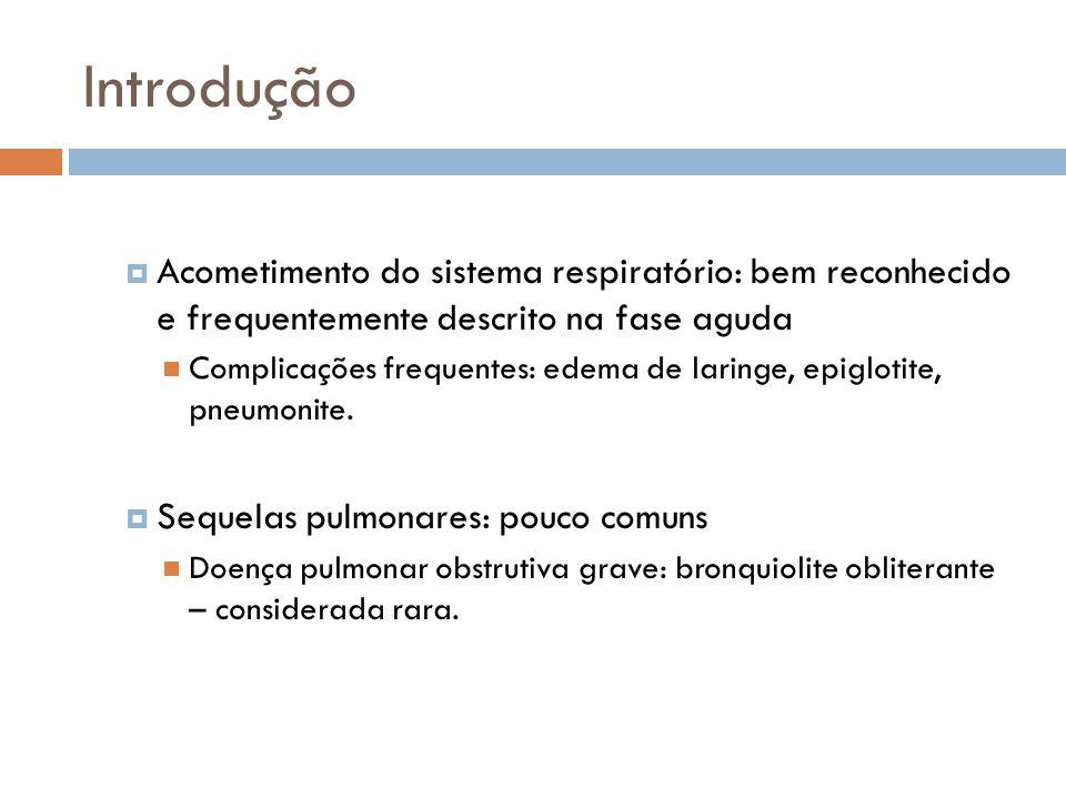 Tipos de lesão bronquiolar na BO: Bronquiolite constritiva Cicatrização ou estenose concêntrica das vias aéreas, que ficam tomadas por tecido cicatricial; Lesão irreversível.
