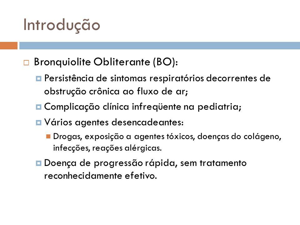 Introdução Bronquiolite Obliterante (BO): Persistência de sintomas respiratórios decorrentes de obstrução crônica ao fluxo de ar; Complicação clínica infreqüente na pediatria; Vários agentes desencadeantes: Drogas, exposição a agentes tóxicos, doenças do colágeno, infecções, reações alérgicas.