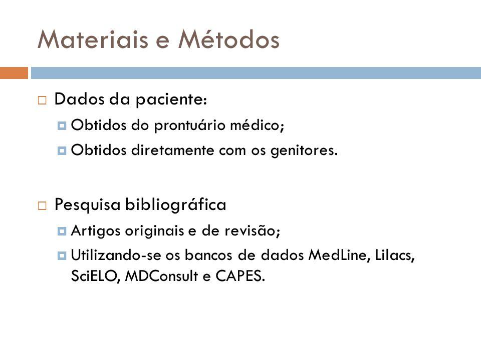 Materiais e Métodos Dados da paciente: Obtidos do prontuário médico; Obtidos diretamente com os genitores.