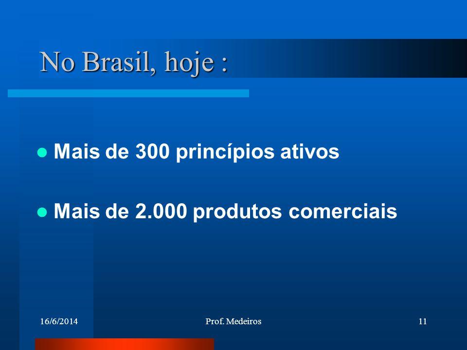 16/6/2014Prof. Medeiros11 No Brasil, hoje : Mais de 300 princípios ativos Mais de 2.000 produtos comerciais