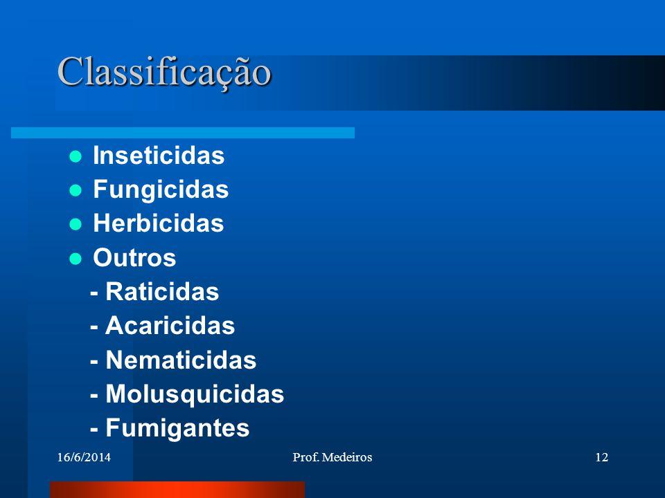16/6/2014Prof. Medeiros12 Classificação Inseticidas Fungicidas Herbicidas Outros - Raticidas - Acaricidas - Nematicidas - Molusquicidas - Fumigantes