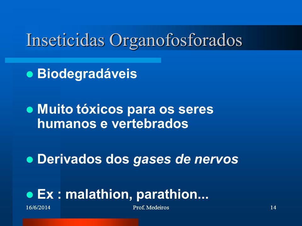 16/6/2014Prof. Medeiros14 Inseticidas Organofosforados Biodegradáveis Muito tóxicos para os seres humanos e vertebrados Derivados dos gases de nervos