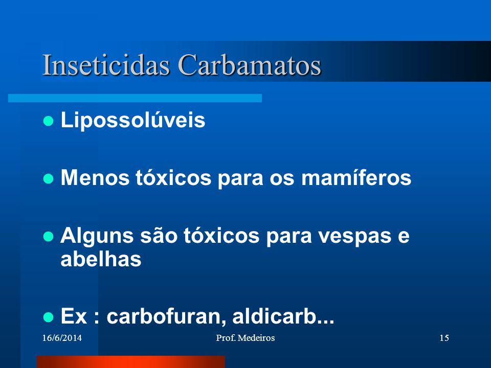 16/6/2014Prof. Medeiros15 Inseticidas Carbamatos Lipossolúveis Menos tóxicos para os mamíferos Alguns são tóxicos para vespas e abelhas Ex : carbofura