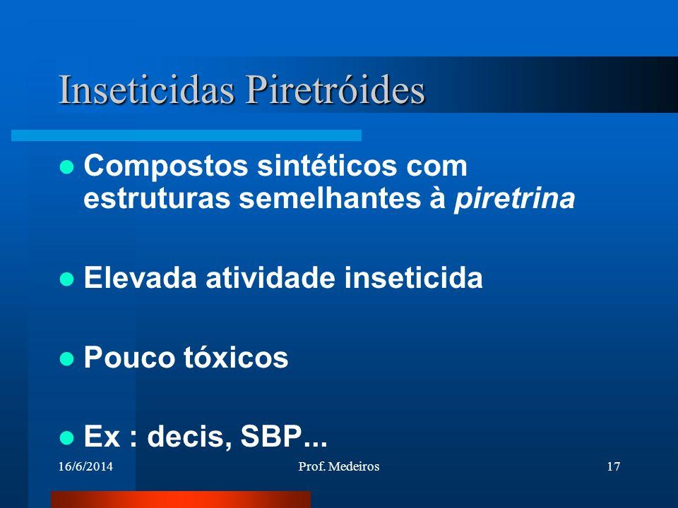 16/6/2014Prof. Medeiros17 Inseticidas Piretróides Compostos sintéticos com estruturas semelhantes à piretrina Elevada atividade inseticida Pouco tóxic