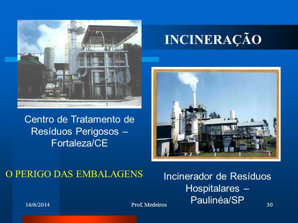 16/6/2014Prof. Medeiros30 Centro de Tratamento de Resíduos Perigosos – Fortaleza/CE Incinerador de Resíduos Hospitalares – Paulinéa/SP INCINERAÇÃO O P