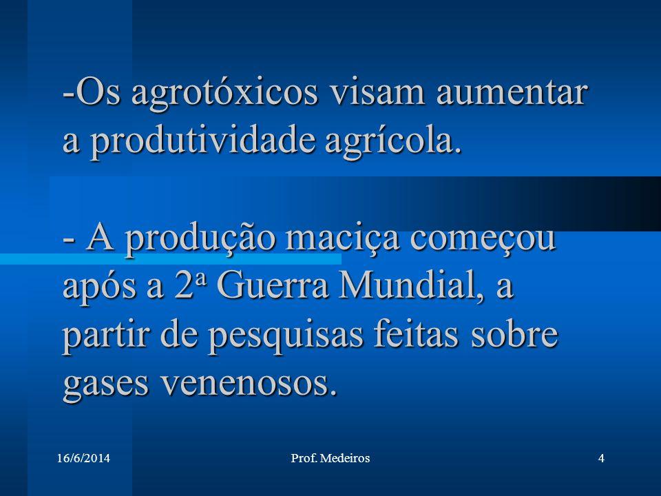 16/6/2014Prof. Medeiros4 -Os agrotóxicos visam aumentar a produtividade agrícola. - A produção maciça começou após a 2 a Guerra Mundial, a partir de p