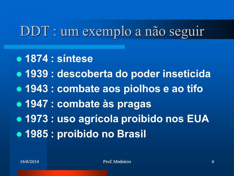 16/6/2014Prof. Medeiros6 DDT : um exemplo a não seguir 1874 : síntese 1939 : descoberta do poder inseticida 1943 : combate aos piolhos e ao tifo 1947