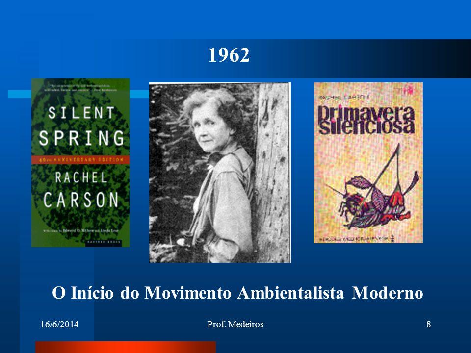 16/6/2014Prof. Medeiros8 1962 O Início do Movimento Ambientalista Moderno