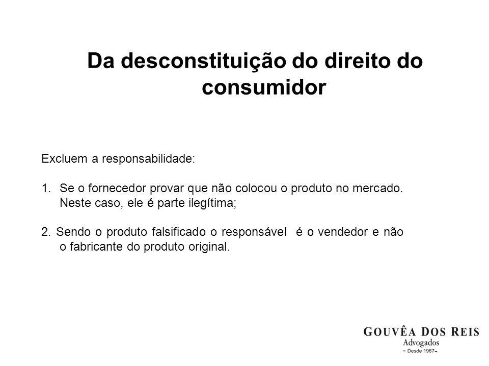 Da desconstituição do direito do consumidor Excluem a responsabilidade: 1.Se o fornecedor provar que não colocou o produto no mercado. Neste caso, ele
