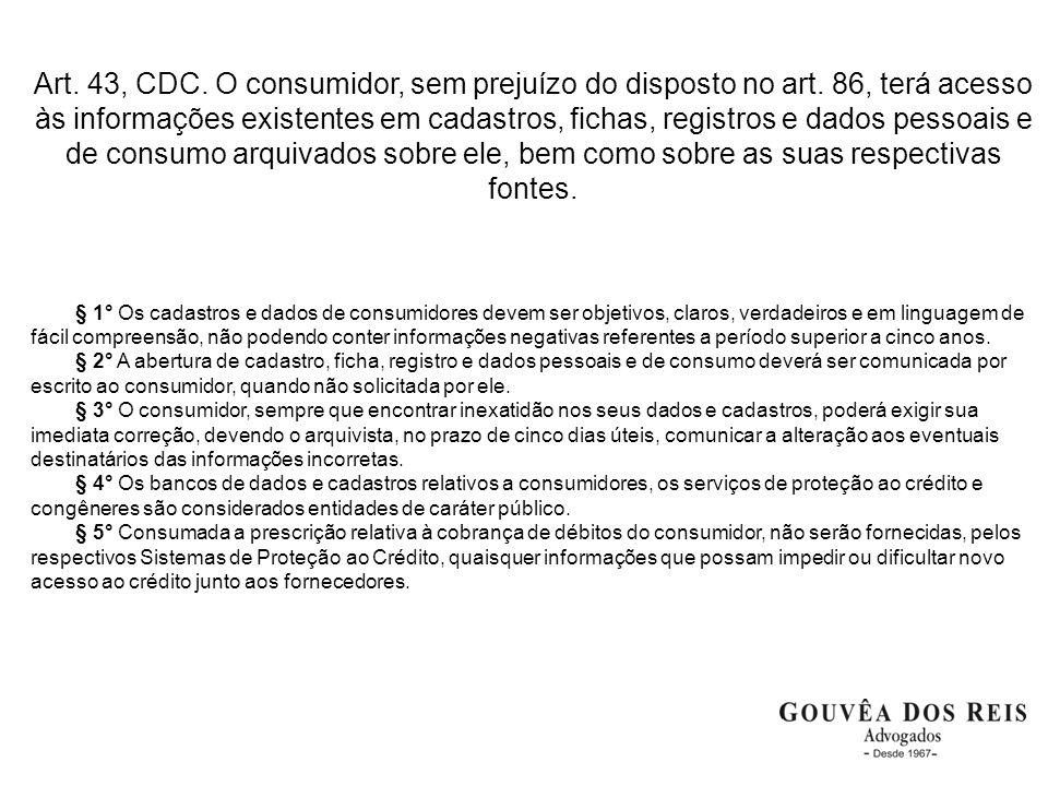 Art. 43, CDC. O consumidor, sem prejuízo do disposto no art. 86, terá acesso às informações existentes em cadastros, fichas, registros e dados pessoai