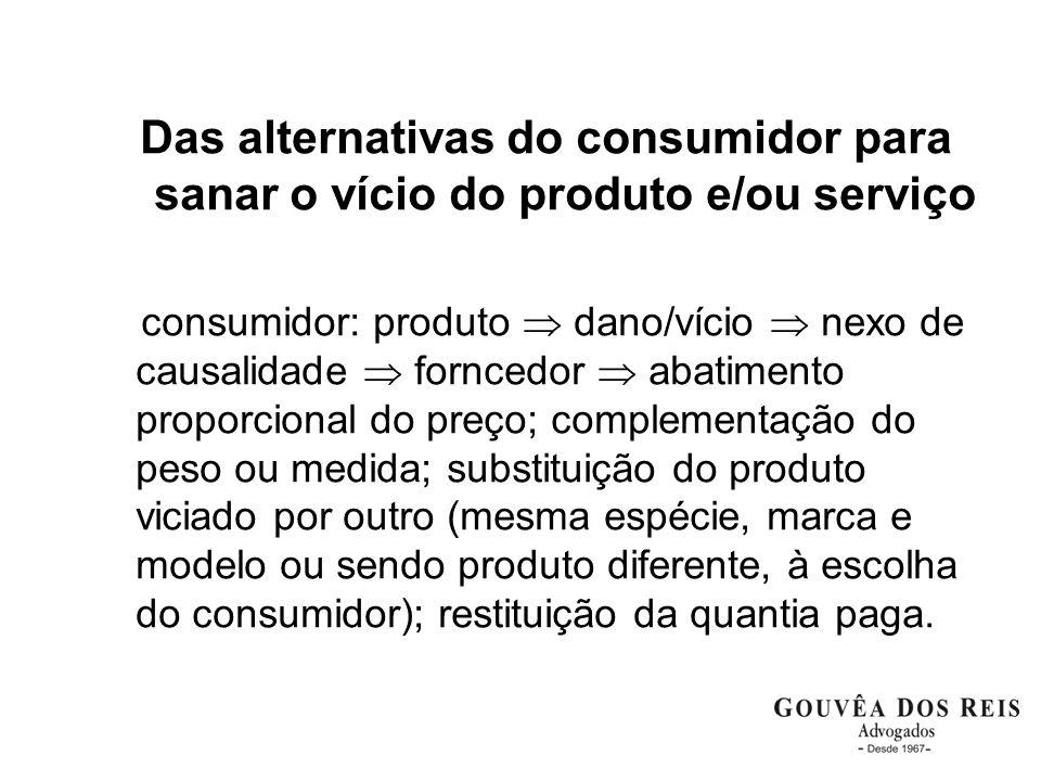 Das alternativas do consumidor para sanar o vício do produto e/ou serviço consumidor: produto dano/vício nexo de causalidade forncedor abatimento prop