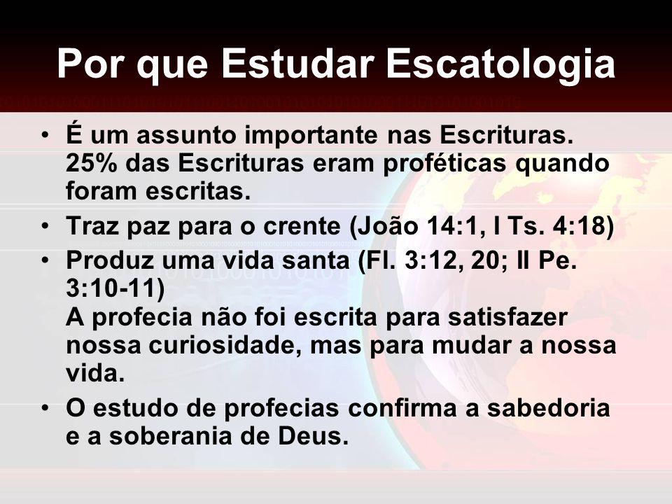 Por que Estudar Escatologia É um assunto importante nas Escrituras. 25% das Escrituras eram proféticas quando foram escritas. Traz paz para o crente (