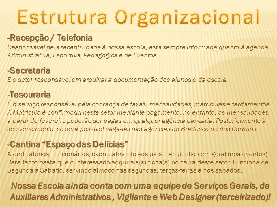 -Recepção / Telefonia Responsável pela receptividade à nossa escola, está sempre informada quanto à agenda Administrativa, Esportiva, Pedagógica e de