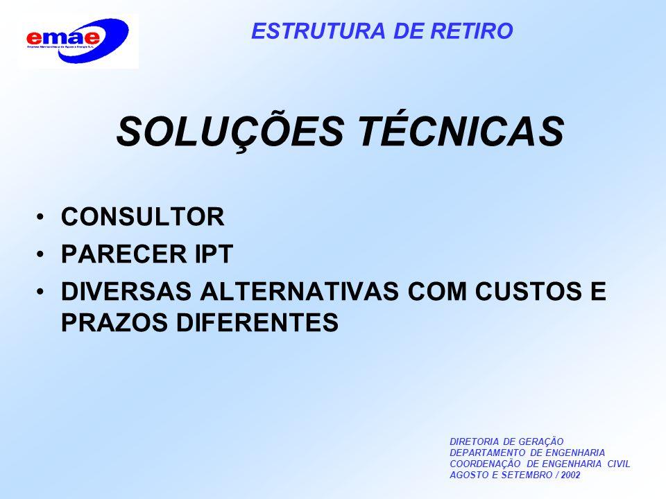 DIRETORIA DE GERAÇÃO DEPARTAMENTO DE ENGENHARIA COORDENAÇÃO DE ENGENHARIA CIVIL AGOSTO E SETEMBRO / 2002 ESTRUTURA DE RETIRO SOLUÇÕES TÉCNICAS CONSULTOR PARECER IPT DIVERSAS ALTERNATIVAS COM CUSTOS E PRAZOS DIFERENTES