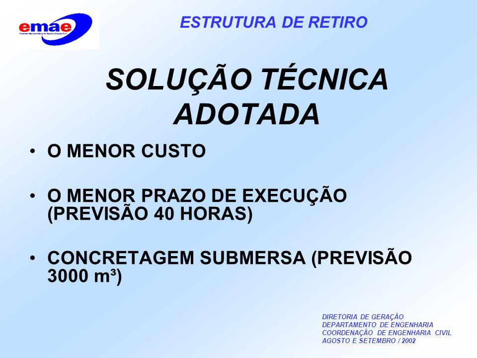 DIRETORIA DE GERAÇÃO DEPARTAMENTO DE ENGENHARIA COORDENAÇÃO DE ENGENHARIA CIVIL AGOSTO E SETEMBRO / 2002 ESTRUTURA DE RETIRO SOLUÇÃO TÉCNICA ADOTADA O MENOR CUSTO O MENOR PRAZO DE EXECUÇÃO (PREVISÃO 40 HORAS) CONCRETAGEM SUBMERSA (PREVISÃO 3000 m³)
