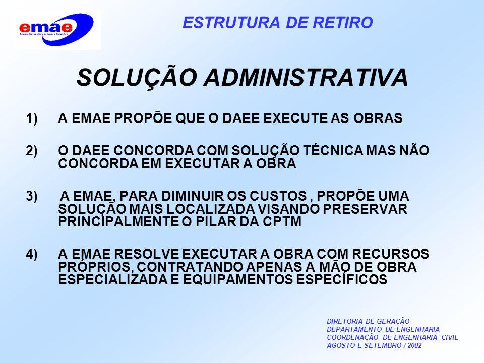 DIRETORIA DE GERAÇÃO DEPARTAMENTO DE ENGENHARIA COORDENAÇÃO DE ENGENHARIA CIVIL AGOSTO E SETEMBRO / 2002 ESTRUTURA DE RETIRO SOLUÇÃO ADMINISTRATIVA 1)A EMAE PROPÕE QUE O DAEE EXECUTE AS OBRAS 2)O DAEE CONCORDA COM SOLUÇÃO TÉCNICA MAS NÃO CONCORDA EM EXECUTAR A OBRA 3) A EMAE, PARA DIMINUIR OS CUSTOS, PROPÕE UMA SOLUÇÃO MAIS LOCALIZADA VISANDO PRESERVAR PRINCIPALMENTE O PILAR DA CPTM 4)A EMAE RESOLVE EXECUTAR A OBRA COM RECURSOS PRÓPRIOS, CONTRATANDO APENAS A MÃO DE OBRA ESPECIALIZADA E EQUIPAMENTOS ESPECÍFICOS