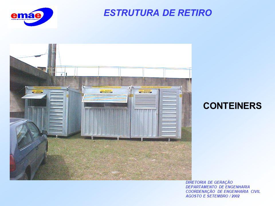DIRETORIA DE GERAÇÃO DEPARTAMENTO DE ENGENHARIA COORDENAÇÃO DE ENGENHARIA CIVIL AGOSTO E SETEMBRO / 2002 ESTRUTURA DE RETIRO CONTEINERS