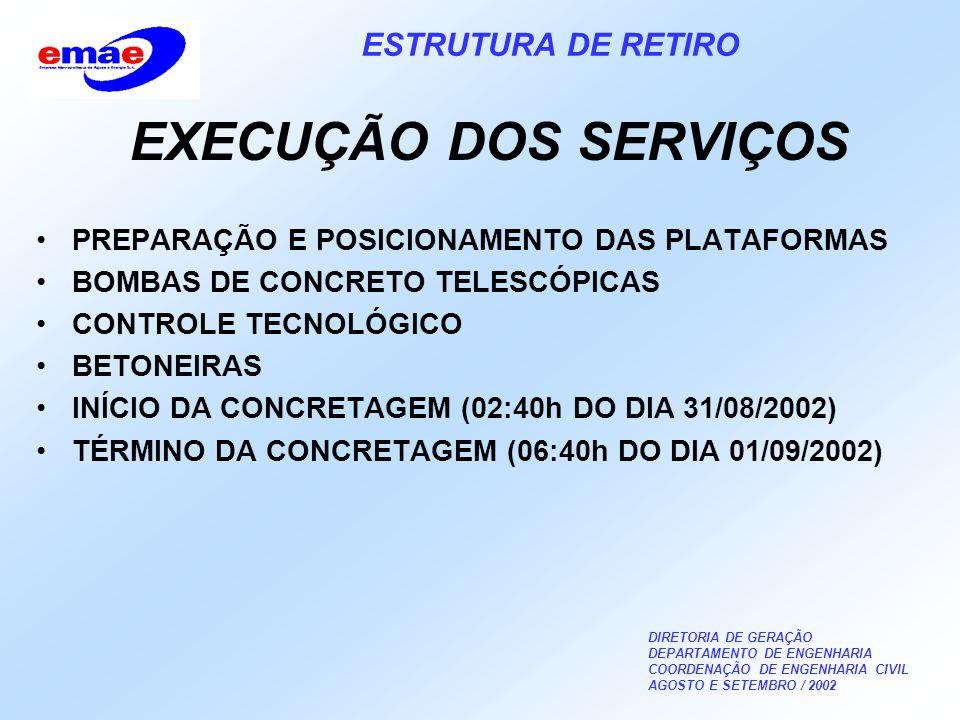 DIRETORIA DE GERAÇÃO DEPARTAMENTO DE ENGENHARIA COORDENAÇÃO DE ENGENHARIA CIVIL AGOSTO E SETEMBRO / 2002 ESTRUTURA DE RETIRO EXECUÇÃO DOS SERVIÇOS PREPARAÇÃO E POSICIONAMENTO DAS PLATAFORMAS BOMBAS DE CONCRETO TELESCÓPICAS CONTROLE TECNOLÓGICO BETONEIRAS INÍCIO DA CONCRETAGEM (02:40h DO DIA 31/08/2002) TÉRMINO DA CONCRETAGEM (06:40h DO DIA 01/09/2002)