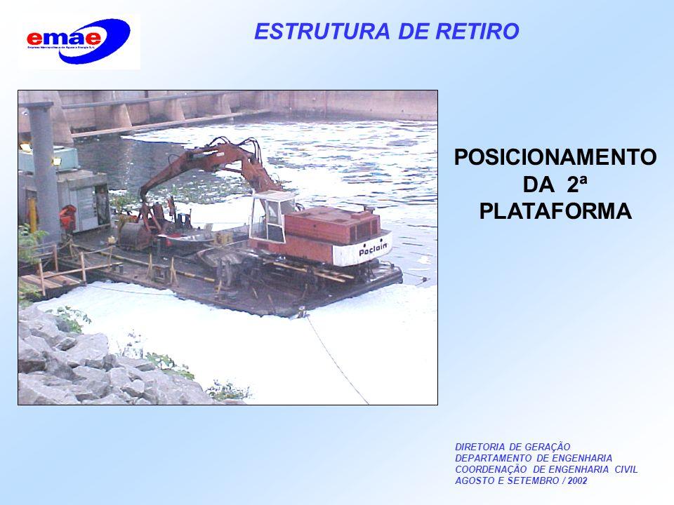 DIRETORIA DE GERAÇÃO DEPARTAMENTO DE ENGENHARIA COORDENAÇÃO DE ENGENHARIA CIVIL AGOSTO E SETEMBRO / 2002 ESTRUTURA DE RETIRO POSICIONAMENTO DA 2ª PLATAFORMA