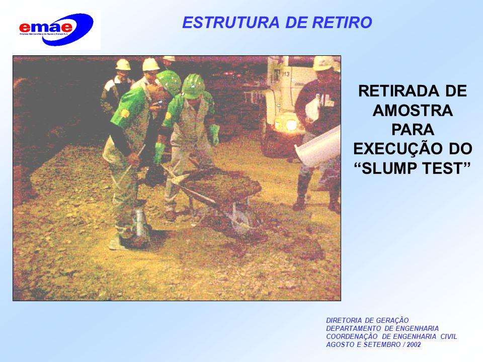 DIRETORIA DE GERAÇÃO DEPARTAMENTO DE ENGENHARIA COORDENAÇÃO DE ENGENHARIA CIVIL AGOSTO E SETEMBRO / 2002 ESTRUTURA DE RETIRO RETIRADA DE AMOSTRA PARA EXECUÇÃO DO SLUMP TEST