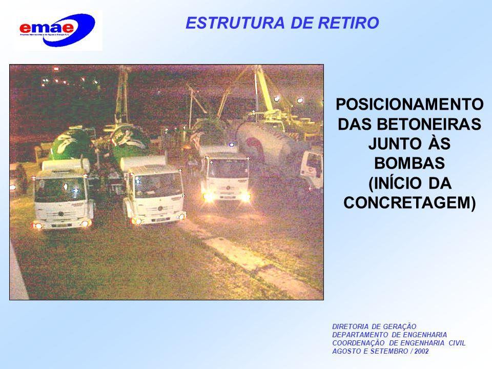 DIRETORIA DE GERAÇÃO DEPARTAMENTO DE ENGENHARIA COORDENAÇÃO DE ENGENHARIA CIVIL AGOSTO E SETEMBRO / 2002 ESTRUTURA DE RETIRO POSICIONAMENTO DAS BETONEIRAS JUNTO ÀS BOMBAS (INÍCIO DA CONCRETAGEM)