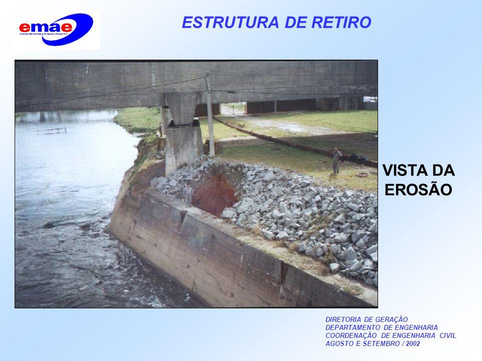 DIRETORIA DE GERAÇÃO DEPARTAMENTO DE ENGENHARIA COORDENAÇÃO DE ENGENHARIA CIVIL AGOSTO E SETEMBRO / 2002 ESTRUTURA DE RETIRO VISTA DA EROSÃO