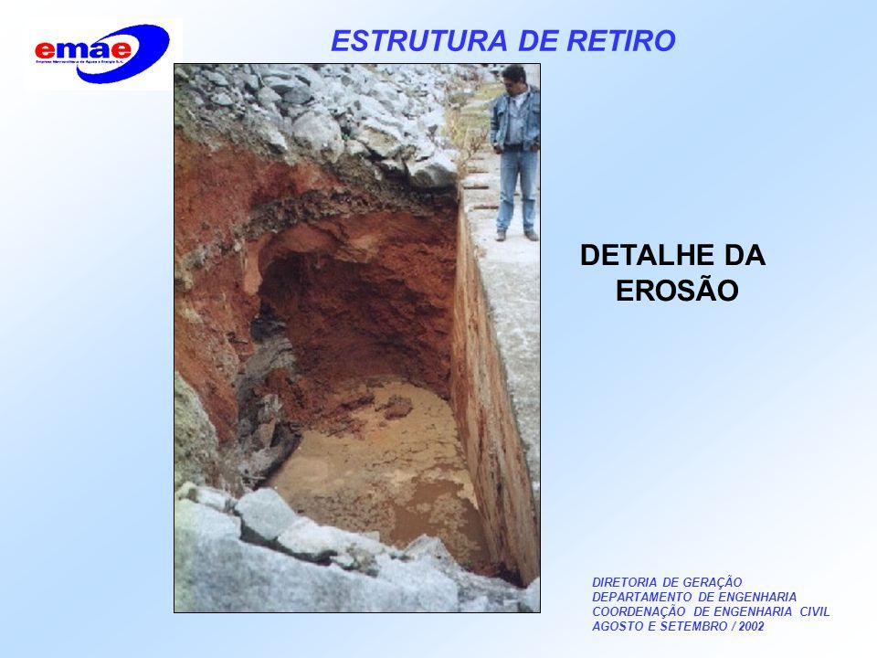 DIRETORIA DE GERAÇÃO DEPARTAMENTO DE ENGENHARIA COORDENAÇÃO DE ENGENHARIA CIVIL AGOSTO E SETEMBRO / 2002 ESTRUTURA DE RETIRO DETALHE DA EROSÃO