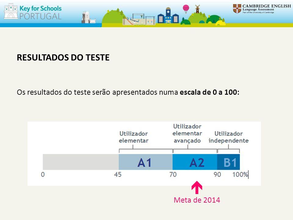 RESULTADOS DO TESTE Os resultados do teste serão apresentados numa escala de 0 a 100: Meta de 2014