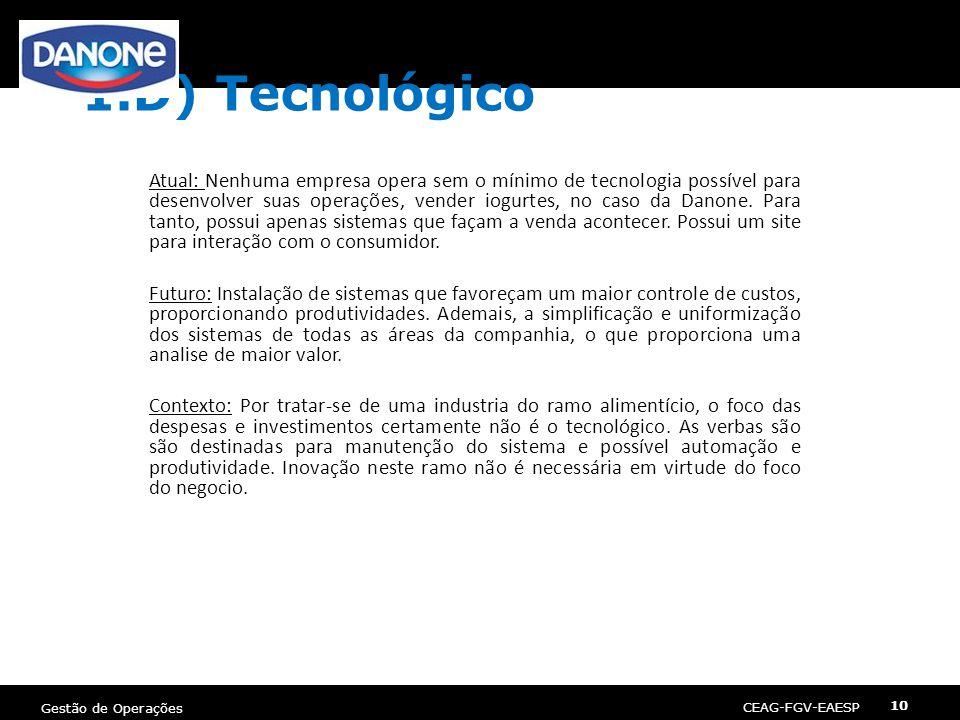 CEAG-FGV-EAESP Gestão de Operações 10 1.D) Tecnológico Atual: Nenhuma empresa opera sem o mínimo de tecnologia possível para desenvolver suas operaçõe