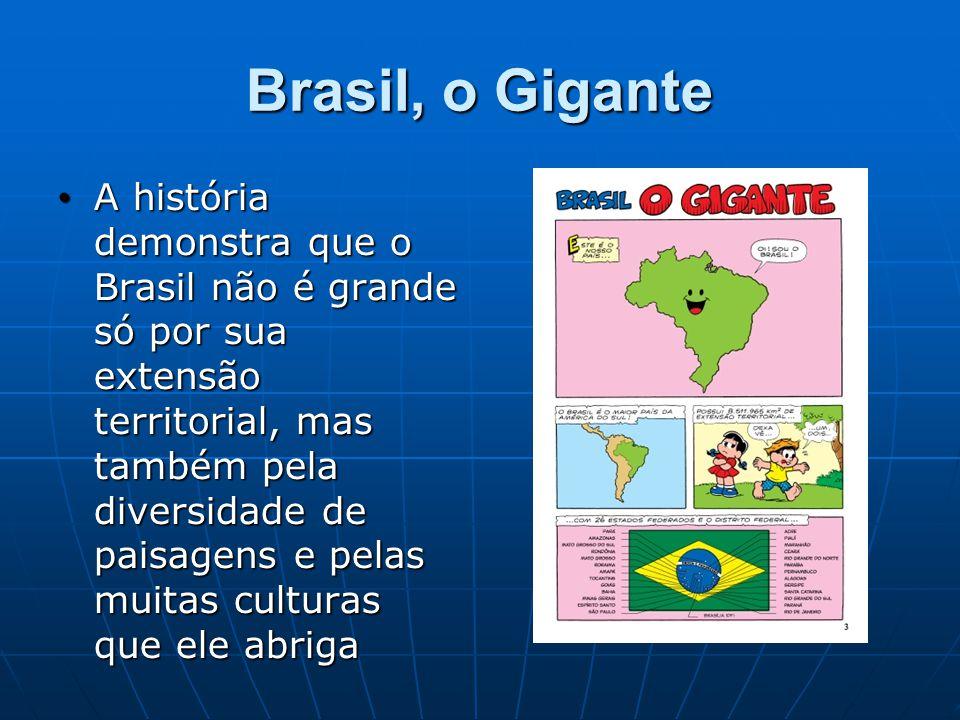 Brasil, o Gigante A história demonstra que o Brasil não é grande só por sua extensão territorial, mas também pela diversidade de paisagens e pelas muitas culturas que ele abriga A história demonstra que o Brasil não é grande só por sua extensão territorial, mas também pela diversidade de paisagens e pelas muitas culturas que ele abriga
