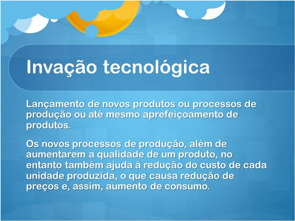 Invação tecnológica Lançamento de novos produtos ou processos de produção ou até mesmo aprefeiçoamento de produtos.
