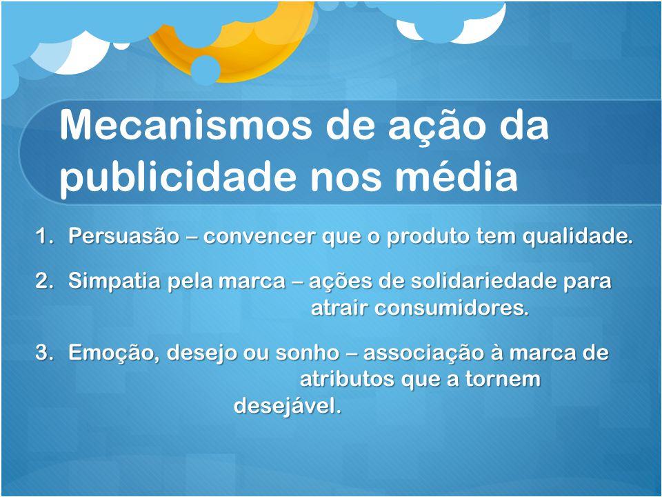 Mecanismos de ação da publicidade nos média 1.Persuasão – convencer que o produto tem qualidade.