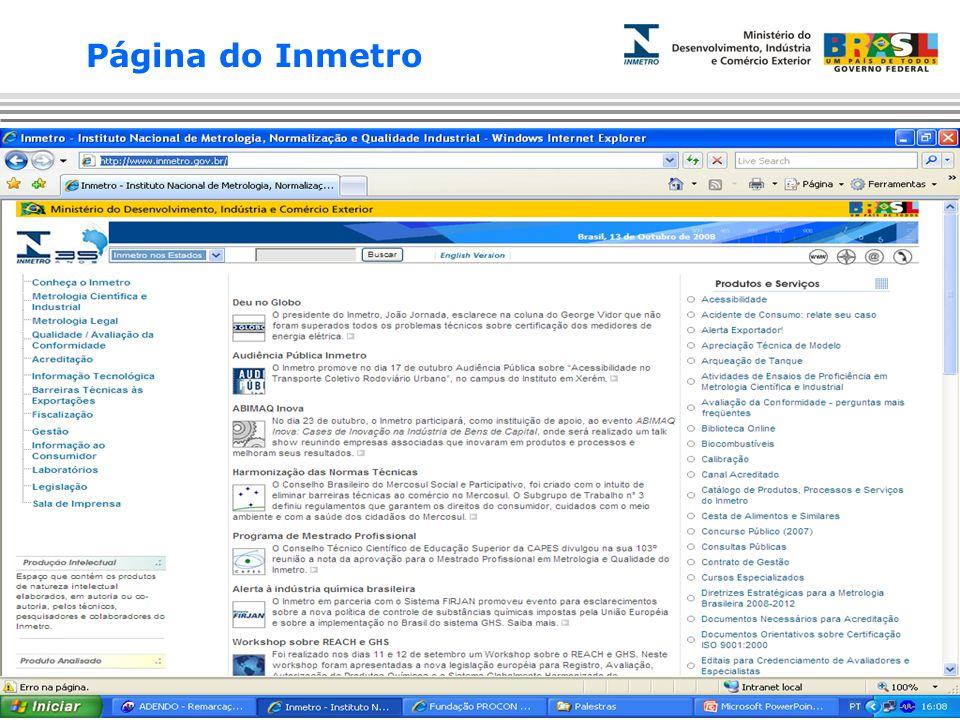Página do Inmetro