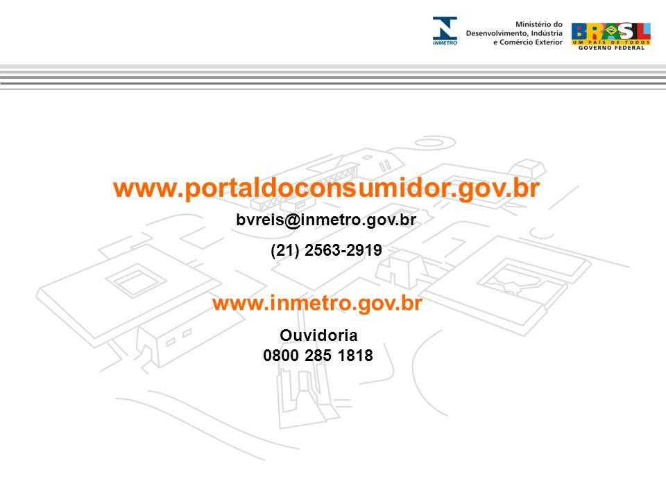 www.portaldoconsumidor.gov.br bvreis@inmetro.gov.br (21) 2563-2919 www.inmetro.gov.br Ouvidoria 0800 285 1818