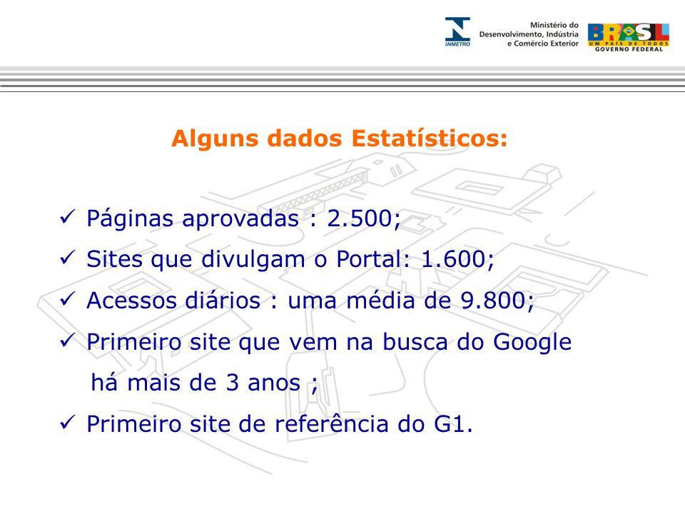 Alguns dados Estatísticos: Páginas aprovadas : 2.500; Sites que divulgam o Portal: 1.600; Acessos diários : uma média de 9.800; Primeiro site que vem na busca do Google há mais de 3 anos ; Primeiro site de referência do G1.