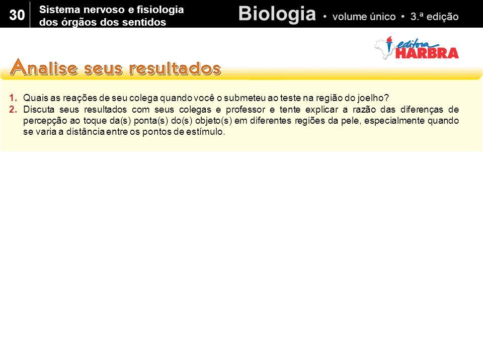 Biologia volume único 3.ª edição 30 1.Quais as reações de seu colega quando você o submeteu ao teste na região do joelho? 2.Discuta seus resultados co