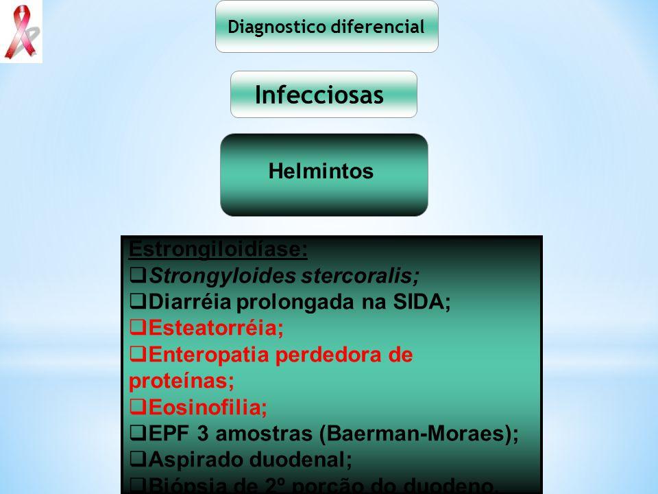 Diagnostico diferencial Infecciosas Helmintos Estrongiloidíase: Strongyloides stercoralis; Diarréia prolongada na SIDA; Esteatorréia; Enteropatia perd