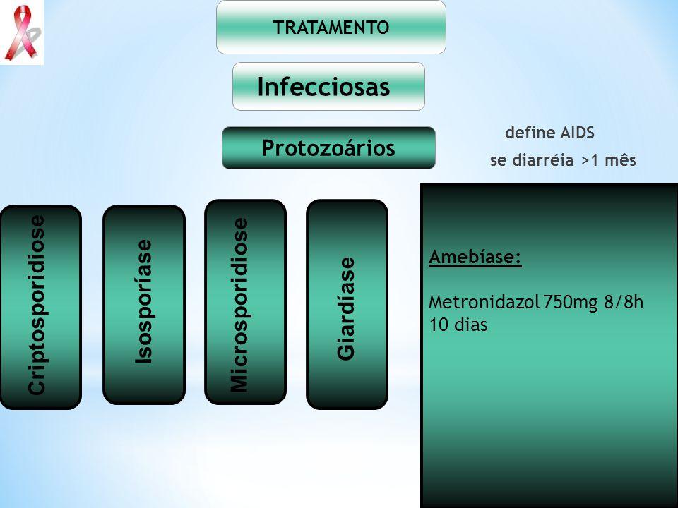 define AIDS se diarréia >1 mês TRATAMENTO Infecciosas Protozoários Amebíase: Metronidazol 750mg 8/8h 10 dias Isosporíase Giardíase Criptosporidiose Mi