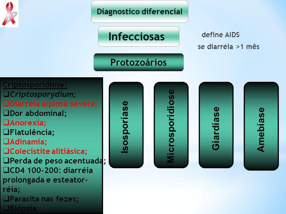 define AIDS se diarréia >1 mês Diagnostico diferencial Infecciosas Protozoários Isosporidiose: Isospora belli; Diarréia líquida profusa com sangue, sem pus, cólicas abdominais; Dor abdominal; Anorexia; Perda de peso; Oocistos em fezes; Biópsia.