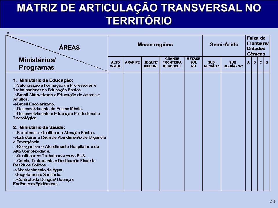 20 MATRIZ DE ARTICULAÇÃO TRANSVERSAL NO TERRITÓRIO