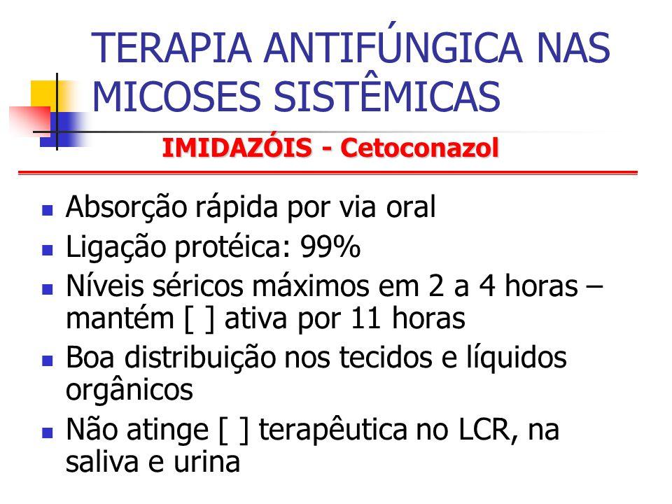 IMIDAZÓIS - Cetoconazol TERAPIA ANTIFÚNGICA NAS MICOSES SISTÊMICAS Absorção rápida por via oral Ligação protéica: 99% Níveis séricos máximos em 2 a 4 horas – mantém [ ] ativa por 11 horas Boa distribuição nos tecidos e líquidos orgânicos Não atinge [ ] terapêutica no LCR, na saliva e urina