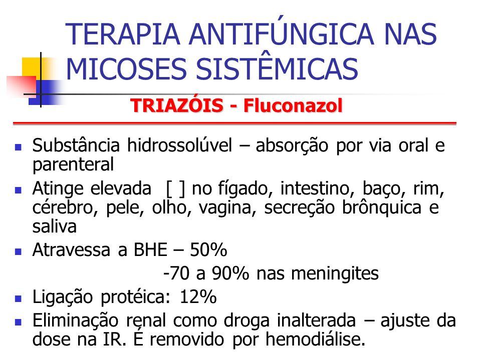 TRIAZÓIS - Fluconazol TERAPIA ANTIFÚNGICA NAS MICOSES SISTÊMICAS Substância hidrossolúvel – absorção por via oral e parenteral Atinge elevada [ ] no fígado, intestino, baço, rim, cérebro, pele, olho, vagina, secreção brônquica e saliva Atravessa a BHE – 50% -70 a 90% nas meningites Ligação protéica: 12% Eliminação renal como droga inalterada – ajuste da dose na IR.