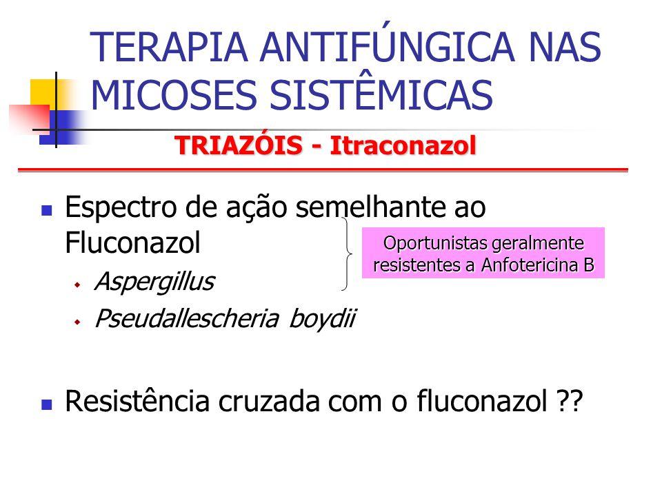 TRIAZÓIS - Itraconazol TERAPIA ANTIFÚNGICA NAS MICOSES SISTÊMICAS Espectro de ação semelhante ao Fluconazol Aspergillus Pseudallescheria boydii Resistência cruzada com o fluconazol ?.