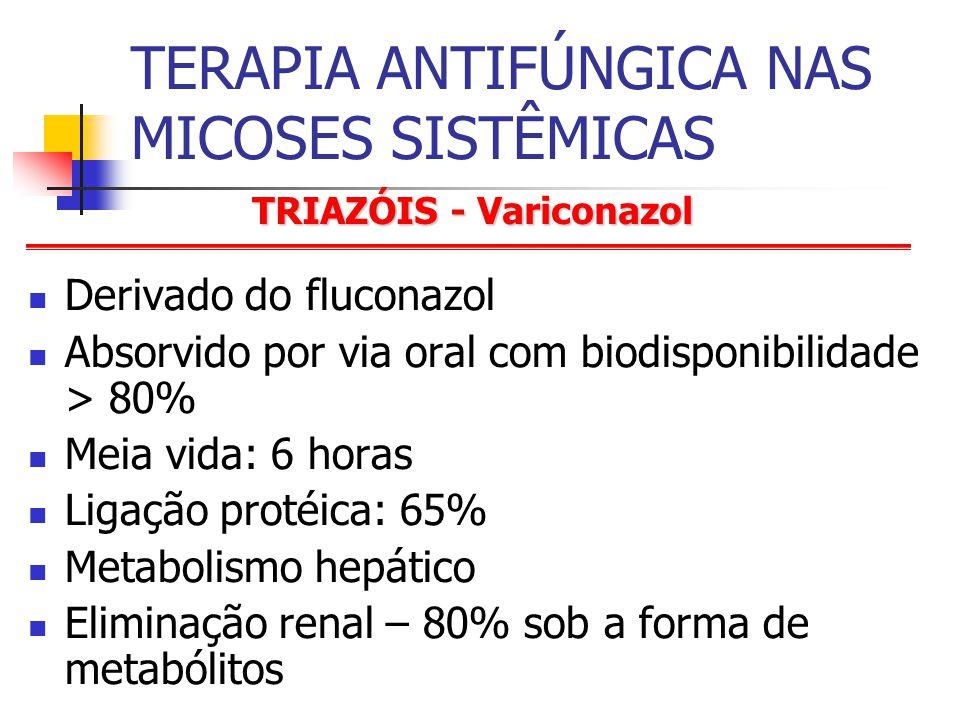 TRIAZÓIS - Variconazol TERAPIA ANTIFÚNGICA NAS MICOSES SISTÊMICAS Derivado do fluconazol Absorvido por via oral com biodisponibilidade > 80% Meia vida: 6 horas Ligação protéica: 65% Metabolismo hepático Eliminação renal – 80% sob a forma de metabólitos
