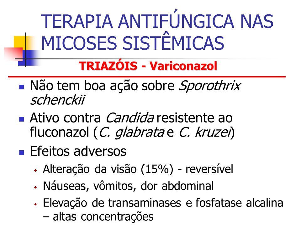 TRIAZÓIS - Variconazol TERAPIA ANTIFÚNGICA NAS MICOSES SISTÊMICAS Não tem boa ação sobre Sporothrix schenckii Ativo contra Candida resistente ao fluconazol (C.