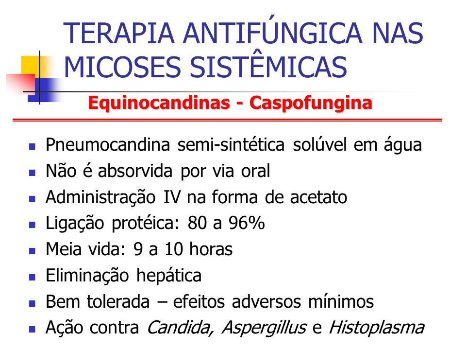 Equinocandinas - Caspofungina TERAPIA ANTIFÚNGICA NAS MICOSES SISTÊMICAS Pneumocandina semi-sintética solúvel em água Não é absorvida por via oral Administração IV na forma de acetato Ligação protéica: 80 a 96% Meia vida: 9 a 10 horas Eliminação hepática Bem tolerada – efeitos adversos mínimos Ação contra Candida, Aspergillus e Histoplasma