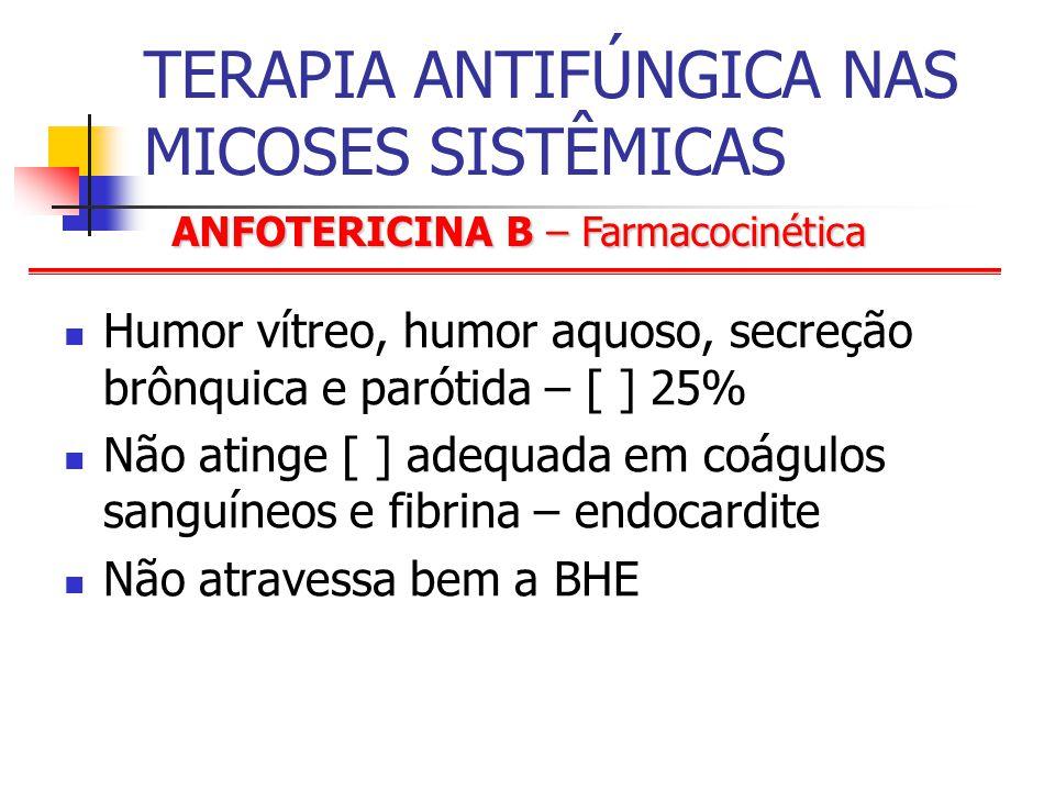 ANFOTERICINA B – Farmacocinética TERAPIA ANTIFÚNGICA NAS MICOSES SISTÊMICAS Humor vítreo, humor aquoso, secreção brônquica e parótida – [ ] 25% Não atinge [ ] adequada em coágulos sanguíneos e fibrina – endocardite Não atravessa bem a BHE