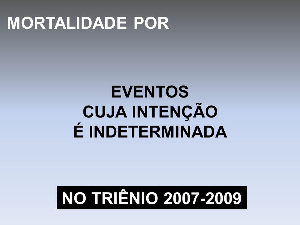 EVENTOS CUJA INTENÇÃO É INDETERMINADA MORTALIDADE POR NO TRIÊNIO 2007-2009